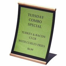 "Concurva Black Metal Table Top Sign With Honey Wood Trim - 9 1/2""L x 6 1/4""W x"
