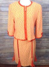 St John Couture Sz 14 Suit Knit Set Skirt Jacket Career Tweed Sp 05 Grp 1 Orange