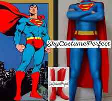 CUSTOM ! FREE WW SHIP CLASSIC SUPERMAN Clark Kent COSTUME Cosplay BOOTS SET