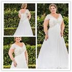 New Beaded Chiffon Wedding Dress Bridal Gown Plus Size 18-20-22-24-26-28
