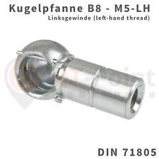 Kugelpfanne Stahl verzinkt B8 M5 LH DIN 71805 mit Sicherungsbügel Linksgewinde