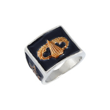 Fashion Halloween Jewelry Ring Size 10 Men's Vintage Silver Plated and Gold