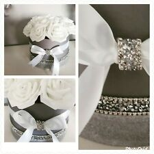 Grey Flower Hat Box with white Rose's bow and diamante detail gift home decor