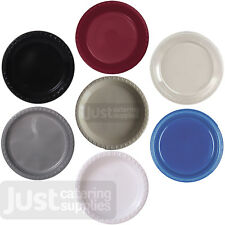 Round Plastic Plate - Black/Burgundy/Clear/Cream/Gold/Navy/Silver/White -7/9/10""
