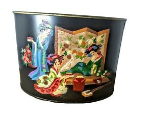 Stunning Vintage Asian Geisha Hand Painted Metal Planter Container