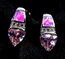 Silver 925 Filled Snap Closure Earrings Pink Lab Fire Opal 7*5mm Pink Topaz & WT
