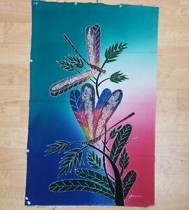 Batik Art Panel Handpainted Textile Dragonfly Garden Fiber Arts Artist Signed