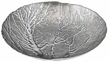 "Elegant Silver Embossed Tree Bowl Glass Decorative Charger Plate 15.75"" Diameter"