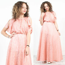 VINTAGE 70'S PINK LACE SHEER MAXI LENGTH FLOATY DRESS BOHO HIPPIE STYLE 8