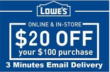 Five (5x) Lowes $20 OFF $100Coupons-InStore and Online EXP-8/31/18-Fast Delivery