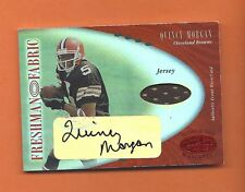 2001 LEAF CERTIFIED MIRROR RED RC QUINCY MORGAN AUTO JERSEY #d 004/150 BROWNS