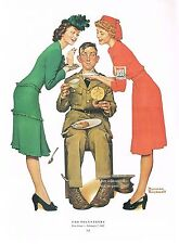 "Norman Rockwell print: ""USO VOLUNTEERS"" 11"" x 15"" WWII Military Soldier"