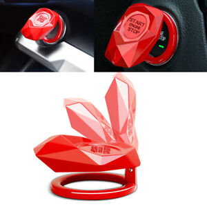 Red Metal Alloy Ignition Start Stop Button Cover Ring Decoration Fit for Car SUV