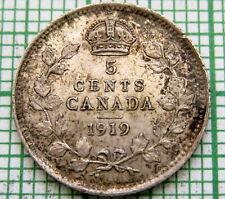CANADA GEORGE V 1919 5 CENTS, SILVER PATINA TOP GRADE