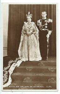 ROYALTY - QUEEN ELIZABETH & DUKE of EDINBURGH Real Photo Postcard CORONATION C52