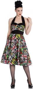 Hell Bunny B-MOVIE Psycho 50s Neckholder Monster Dress KLEID Rockabilly