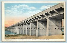 Postcard VA Danville Southern Railway New Cement Bridge Across Dan River AD13