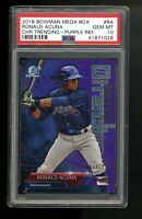 2018 Bowman Chrome Mega Bx Ronald Acuna Trending Purple Refractor RC PSA 10 /250