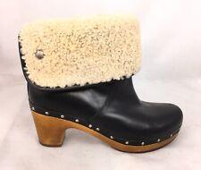 UGG Australia Lynnea Black Leather Wood Heel Boots Women's Size 8 M