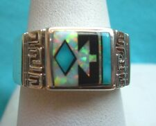NAVAJO NATIVE AMERICAN TURQUOISE OPAL  RING SIZE 11 STERLING BY RICK TOLINO