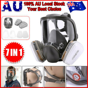 7 in1 Gas Mask Combination With Filter Box Full Face Facepiece Respirator AU