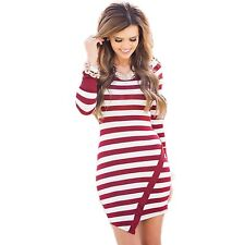 Womens White & Red Striped Long Sleeve Stretchy Bodycon Dress Size 12-14