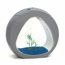 Small Nano Curve Aquarium Fish Tank Coldwater Tropical LED Lighting 13.5L Grey