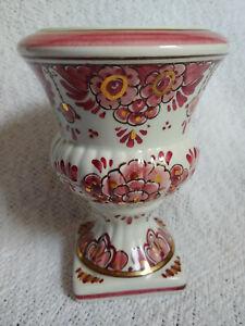 """Vintage DELFT ROOD Pedestal Vase Flowers Gilt Design Hand Painted #953 5"""" Tall"""