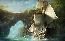 Incorniciato stampa-NAVE PIRATA che navigano nei mari elevati a Treasure Island (PICTURE ARTE