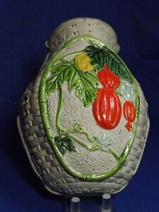 Antique Banko Japanese Pottery Gray Clay Wall Pocket Hanging Gords& Vines Signed