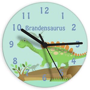 CHILDRENS BOYS GIRLS PERSONALISED BEDROOM CLOCK Dinosaur or Butterflies Theme