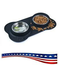 Pet Supplies Deluxe Dog Bowls Stainless Steel With Non Spill Skid Resistant Mat