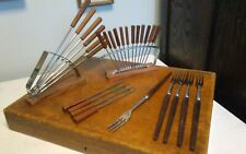 Vtg large lot 27 stainless Japan fondue forks appetizer serving 2 holders NICE!!