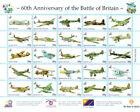 60th Ann Battle of Britain WW2 WWII British German Aircraft RAF stamp sheet