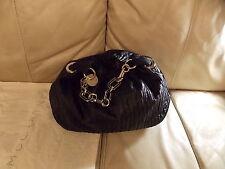 Stella McCartney Black Pleated Hobo Shoulder Handbag with Chain Handle