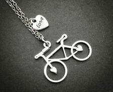 Retro Tibetan Silver Bike peach heart love Charm Necklace NEW