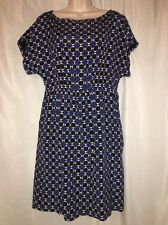 Michael Michael Kors Blue Black White Geo print Silk dress 8 dolman short sleeve