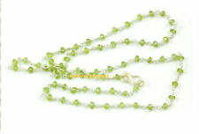 """18""""Inch Necklace Peridot Rondelle 3-4mm Faceted Gemstone Loose Beads Silver x1"""