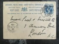 1898 Lahore India Service Postal Stationary Cover To London England