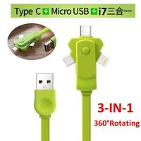 MULTI 3 IN 1 USB CHARGER ADAPTER LIGHTINING MICRO USB-C CABLE FOR ANDROID IOS
