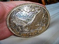 AWARD DESIGN METAL SOARING EAGLE SILVER/GOLD PLATED BELT BUCKLE