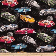 Extreme Sports Cars Black Fabric Cotton 100% 50cm(L) x 50cm(W)