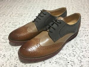 Italian Lightweight Leather Contrast Women's Oxfords Grey Tan Brown US 9.5-10