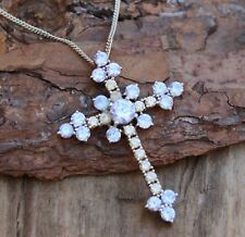 Vintage 925 Sterling Silver Necklace Blue Pink CZ Pendant Jewellery Jewelry