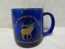 New listing Vintage Rocky Mountain Elk Foundation Hpbc Cobalt Blue Coffee Mug With Logo