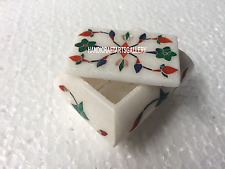 "3""x2""x2"" White Marble Handicraft Small Jewelry Box Inlay Handmade for Gift H3530"