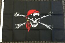 Red Bandana Pirate Flag Ship Banner Jolly Roger Pennant Sign Large 4x6 Foot