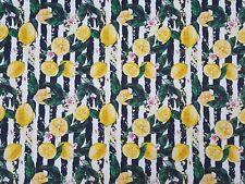Stoffe Baumwolle Panama Digitaldruck Deko Patchwork Gardine Lemon Zitrone Nr14