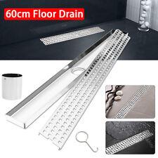 23'' Floor Drain Tile Insert Linear Shower Grate Bathroom Waste Stainless Steel