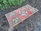 Bath rug, Small rug, Vintage handmade rug, Turkish ethnic rug   1,6 x 3,0 ft